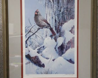 Winter Branches – [Female] Cardinal by Mario Fernandez in 1983, #239/780, signed by artist