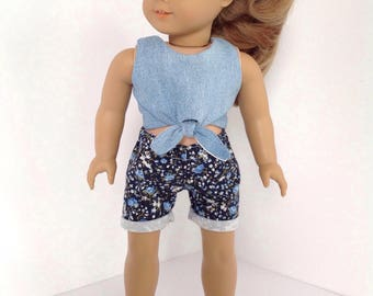 "18"" doll clothes, 2pc Outfit, Blue Floral Cuffed Shorts, 18 inch doll clothes, handmade to fit like american girl doll clothes"
