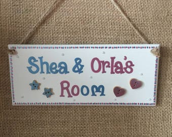 Childrens, twins, boys & girls shared bedroom personalised sparkly butterfly door plaque