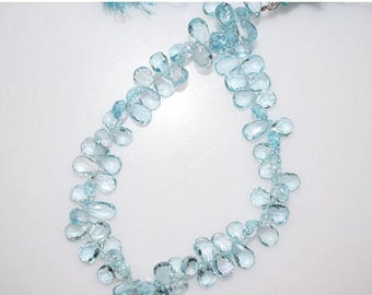 """50% OFF Sky Blue Topaz Faceted Pear Shape Beads-Sky Blue Topaz Pear Shape Briolette, 7x5 - 9x5 mm, 9"""" , BL790"""