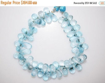 "50% OFF Sky Blue Topaz Faceted Tear Drop Beads-Sky Blue Topaz Tear Drop Briolette, 9.5x6 - 13x6 mm, 7"" , BL786"