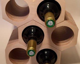 Hexagonal Wine Rack / Wine Storage / Honeycomb Nesting / Birch Laminated Plywood/ Holder