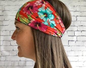 Orange hair flower, headband sport headband, woman accessory