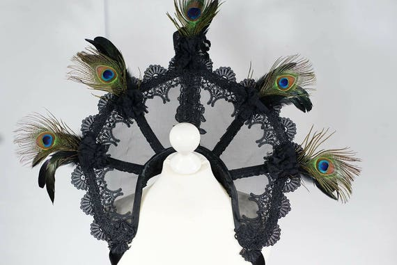 Extravagant burlesque collar with detachable peacockbrooch / support ACEs collar Elizabethan MADE TO ORDER