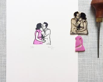 Kiss 'limited edition handprinted linoprint'