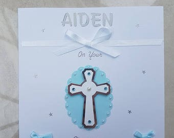 Christening Card - Baptism Card - Personalised Christening/ Bpatism Card Design - 3D Embellishment - Handmade Card - Personalised with Name