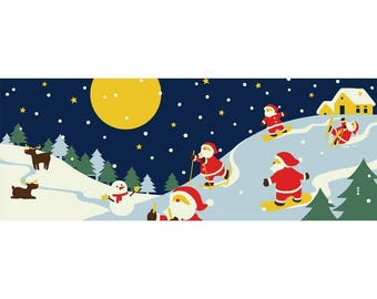 Hamamonyo Nassen Tenugui Towel Santa Clauses Playing in the Snow