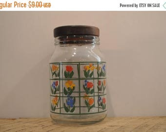 On Sale Vintage Anchor Hocking Glass Canister with Flowers and Lid, Nina Glass Canister, Red, Orange, Yellow, Blue Flowers, Greenhouse