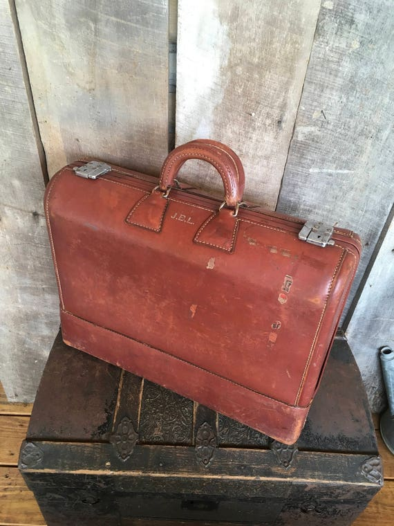 Vintage brown leather suitcase luggage weary the little