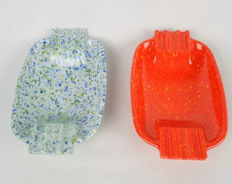 MELAMINE ASHTRAY SET of 2 orange, speckled smoking colored stackable change holders 177