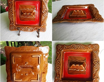 Vintage, USA, EA-10-2S, Brown and Red, Square Ashtray, Mid-Century Homes Decor