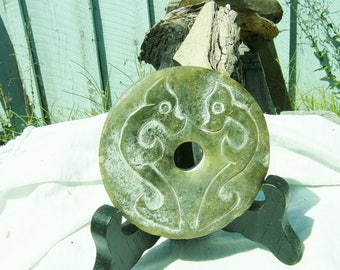 Ancient Chinese Hand Carved Green Jade Bi-Disc