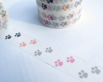 Paw Prints Washi Masking Tape - Roll 15mm X 10 Metres
