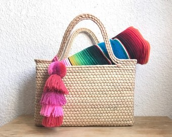 Beach bag, Mexican bag, straw beach bag with pompoms, pom pom basket, French market bag, market tote, straw storage basket, jute bag