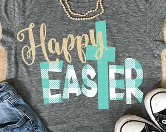 Happy EasTer svg, jesus svg, Easter svg, christ svg, SVG, DXF, EPS, Easter quote svg, plaid svg, cut file, Easter shirt, digital download