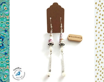 Gift Christmas woman white paper bead earrings