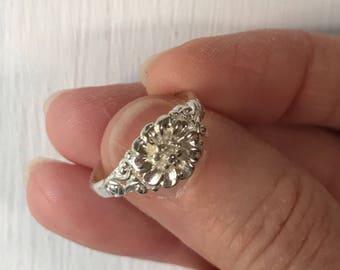 Sterling open flower ring, #298