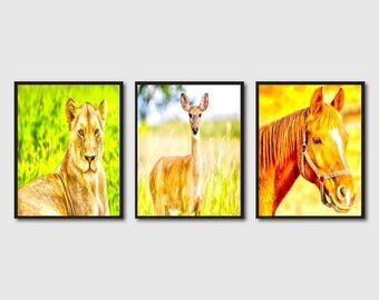 3 animal printables, 3 water color painting of animals , painting of lion, deer,horse (discount offer)