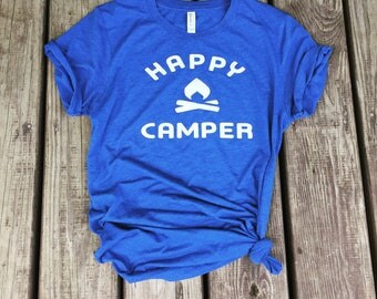 Happy Camper Womens T-Shirt-Camping Shirt