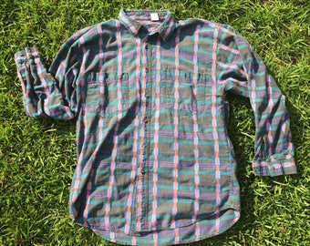 Vintage 90s Long Sleeve Button Up by Saturdays Neon Stiched Sz XL Fits L 1990s VTG
