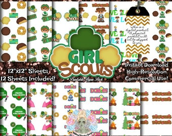 GIRL SCOUT Digital Paper, Girl Scout Patches, Girl Scout Gift, Girl Scout Fabric, Girl Scout Clipart, Girl Scout Clip Art, Commercial Use