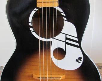 OLD KRAFTSMAN GUITAR, 1950's Old Kraftsman Acoustic Guitar With Case, Parlor Guitar Model 1160, Musical Note / Deco Note, Musical Instrument
