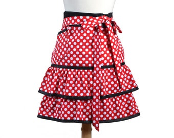 Red and White Polka Dot Ruffled Waist Apron Trimmed in Black with Lined Pocket (CS)
