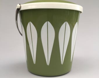 VINTAGE Cathrineholm Enamelware Lotus Ice Bucket Mid Century Modern MCM Avocado