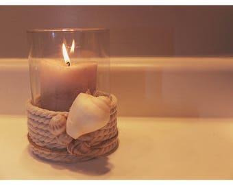 Nautical candle holder-handmade-beach decor
