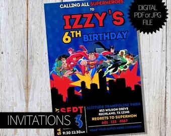 SuperHero Justice League Birthday Party PRINTABLE Invitations   Justice League Unlimited   Digital Invitation
