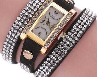 Just in!  Leather Wrap Around Watches with Rhinestones - Choose from Black, Coffee, Tan, White and Red - Adjustable - Great Price