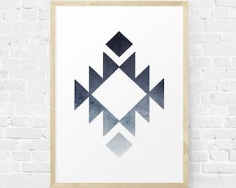 Aztec Wall Art, Geometric Art, Aztec Print, Aztec Sign, Southwestern Decor, Navy Blue Art, Minimalist Wall Art, Ombre Effect