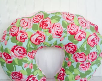 Boppy Cover-  Tumble Rose Floral Fabric with Baby Pink Minky Back