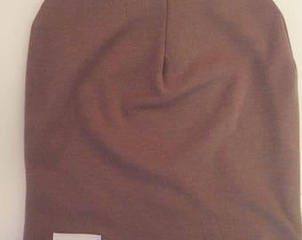 Mocha handmade slouch beanie hat