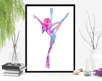 "Print it yourself! ""Flying Lady"" printable watercolor art aerial silks inspired. The Circus collection 2017. Size: 11.69 x 16.53 inches"