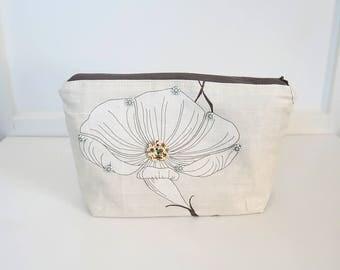 Botanical print zipper pouch, makeup bag, cosmetic bag