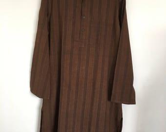 Fabindia men's long brown Indian cotton kurta size 40