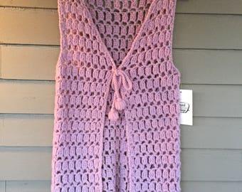 1960's Purple Crochet Tie Front Vest   Size Small Medium   1960's 1970's