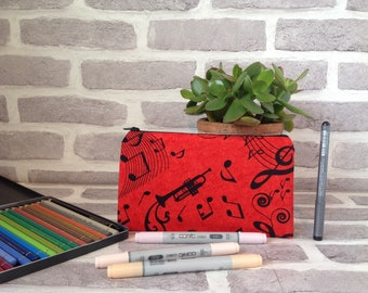 music pencil case, trumpet pencil case, music note pencil case, school supplies, back to school, gift for music teacheer