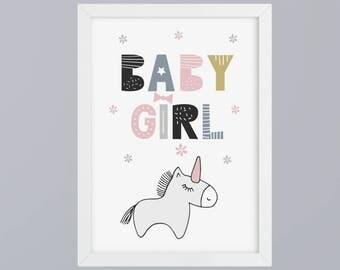 Unicorn baby girl-art print without frame