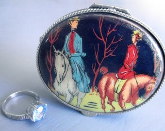 Vintage Trinket Box, Enamel, Porcelain, Hand Painted, Silver Tone, Pill Holder, Jewelry Box, Equestrian, Horses, Fox Hunt, Gifts for Her