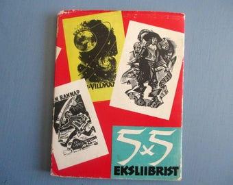 Vintage Book, 5 x 5 Ex Libris, Eksliibrist, Estonian Bookplates, Soviet Artists, Woodcut, Engraving, Illustration, Graphic Design, 1960s
