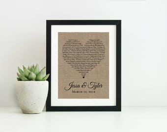 Wedding Song Lyric Art-Unique Wedding Gift for Couple-Valentines Day Gift for Him-Framed Song Lyrics-Personalized Engagement Gift For Couple