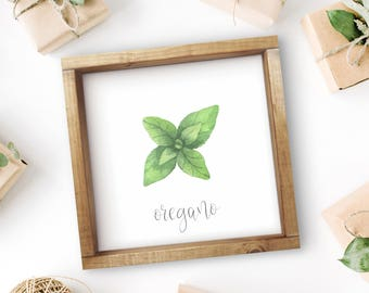 "Mix + Match Kitchen Herb Print || 8""x8"" Oregano Kitchen Herb Wall Art || Kitchen Herb Decor || Herb Print Instant Download (DIGITAL PRODUCT)"