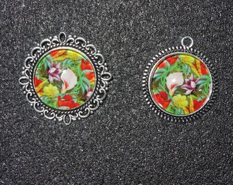 Multicolor flowers and Arum cabochon pendant and ring set