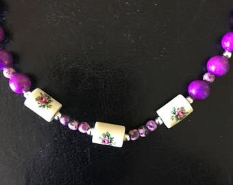 Beautiful Purple Necklace With Three Vintage Focal Beads!!!