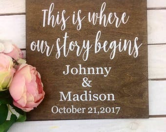 "This Is Where Our Story Begins Wedding Sign-Rustic Wedding Sign-12""x 12"" Wood Sign-Wedding Couple Name Sign"