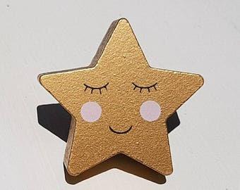 Gold Wooden Smiling Star Door / Drawer Knob ~  Upcycling Project Children's bedroom / Nursery