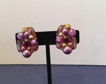 Karu Arke Earrings ~ Purple Bead Cluster ~ Clip on ~ Signed ~ Shabby Chic ~ Vintage