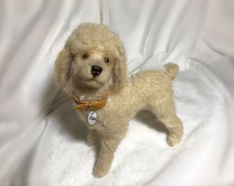 Needle felted poodle puppy